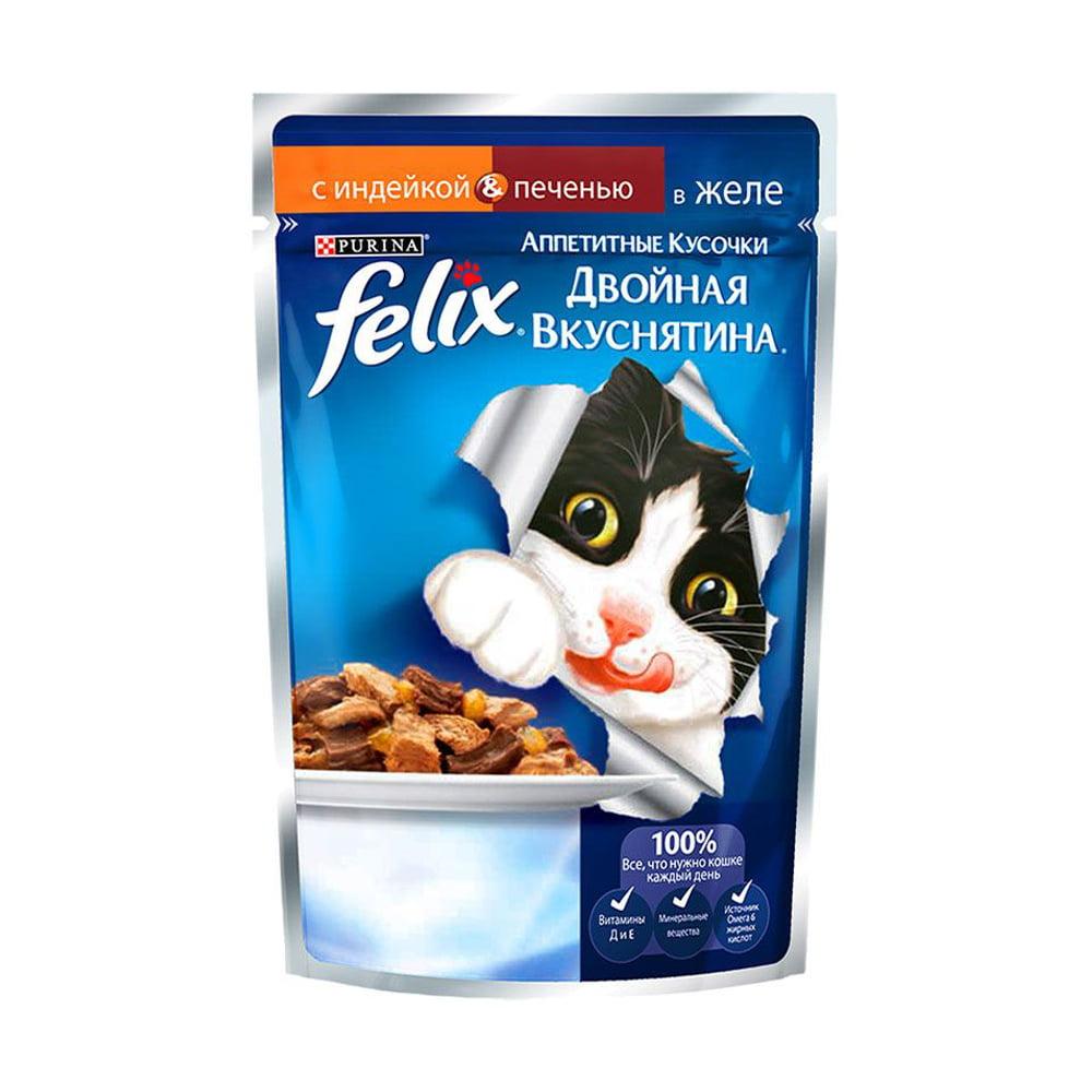 Felix Двойной вкус Индейка и печень в желе (пауч) 85 г