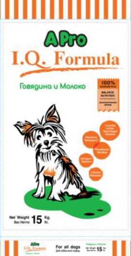 APRO I.Q. FORMULA Корм для щенков говядина с молоком 15кг