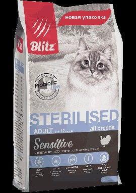 BLITZ Sterilised Cats, корм для стерилизованных кошек, 10кг