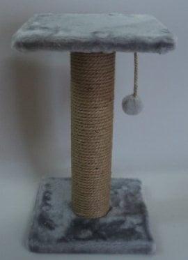 Когтеточка столбик пенька с полкой (мех) арт. ЗН0200