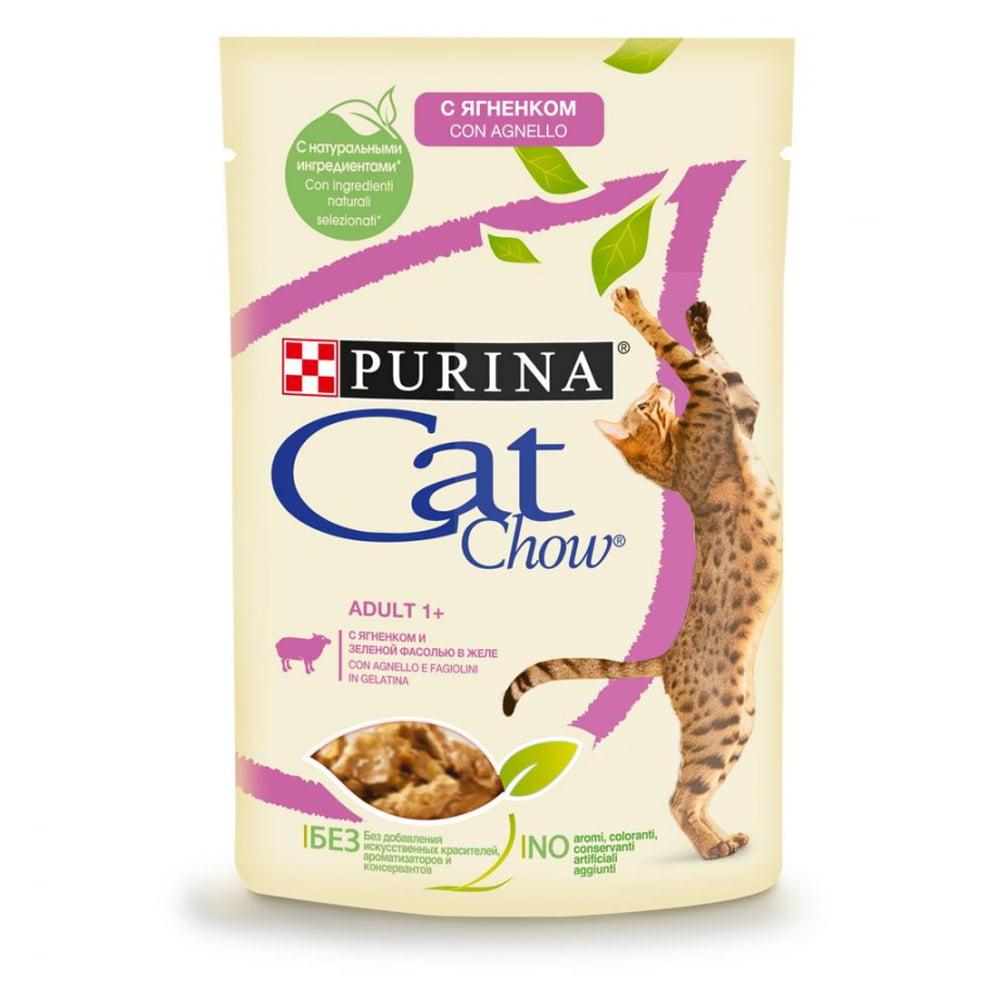 Cat Chow Adult пауч, ягненок/зеленая фасоль 85г