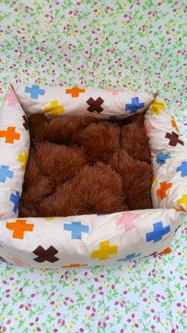 Лежак квадрат пухлик с подушкой 43*43 см