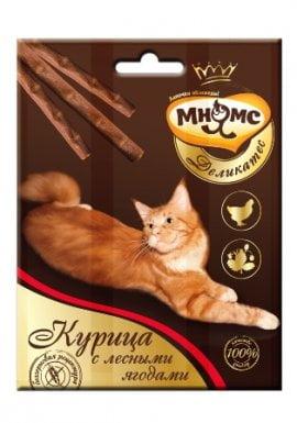 Зуб. Лакомство Палочка Мнямс 9 см для кошек с курицей и лесными ягодами 3х4 г
