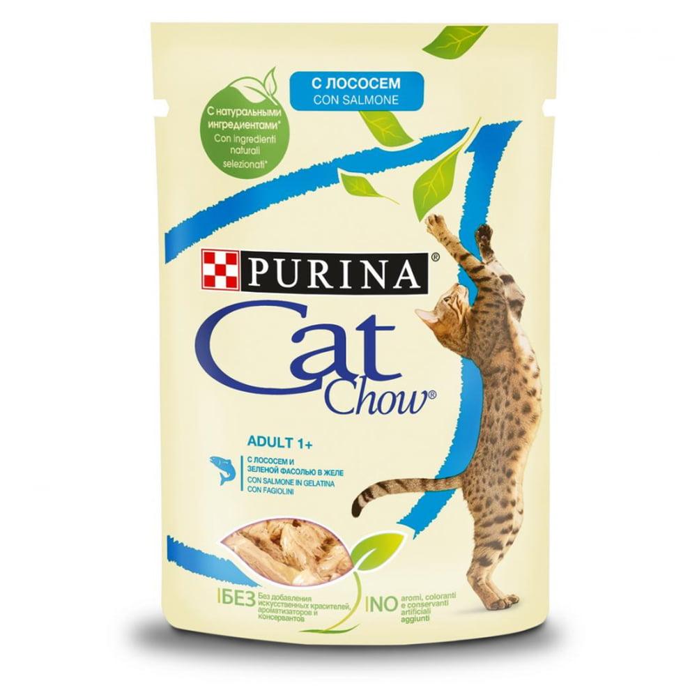 Cat Chow Adult пауч, лосось/зеленая фасоль 85г