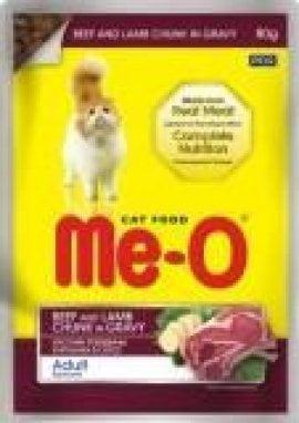 Me-O пауч для кошек, говядина и ягненок в соусе, 80г