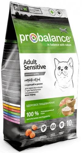 Корм ProBalance Sensitive для кошек c чувствит. пищеварением, курица-рис, 10кг