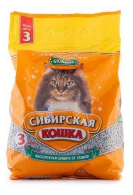"""Наполнитель Сибирская кошка """"Бюджет"""" впитывающий 3л"""