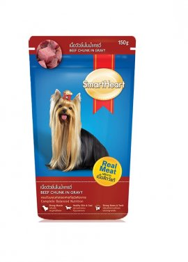 SMARTHEART пауч для собак, говядина в подливке, 130г
