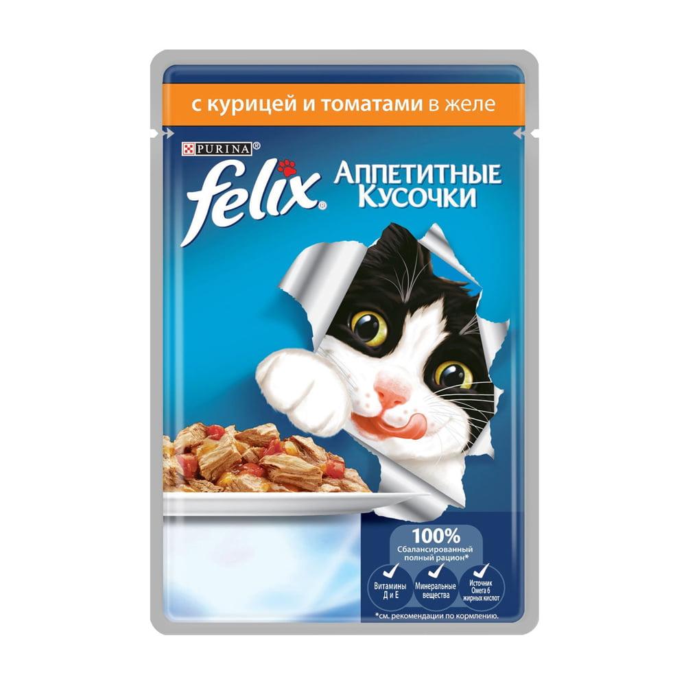 Felix желе курица томаты и зелень 85г.