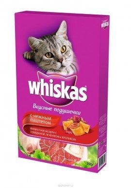 Whiskas подушечки нежный паштет для кошек гов/крол. 350г