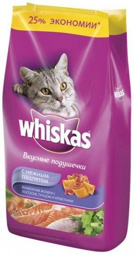Whiskas подушечки с нежным паштетом обед с лососем 1,9кг