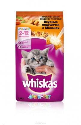 Whiskas д/котят молочные подушечки, инд/морк. 1,9кг