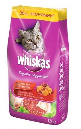 Whiskas подушечки, нежный паштет гов/ кролик 1,9кг
