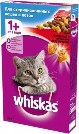 Whiskas для стерилизованных кошек с говядиной 350г