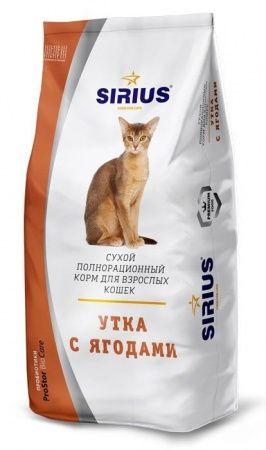 Корм для взрослых кошек Утка с ягодами «SIRIUS» 1,5 кг