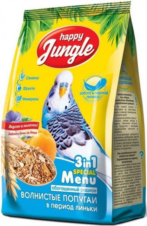 Корм HAPPY JUNGLE для волнистых попугаев 500г J102