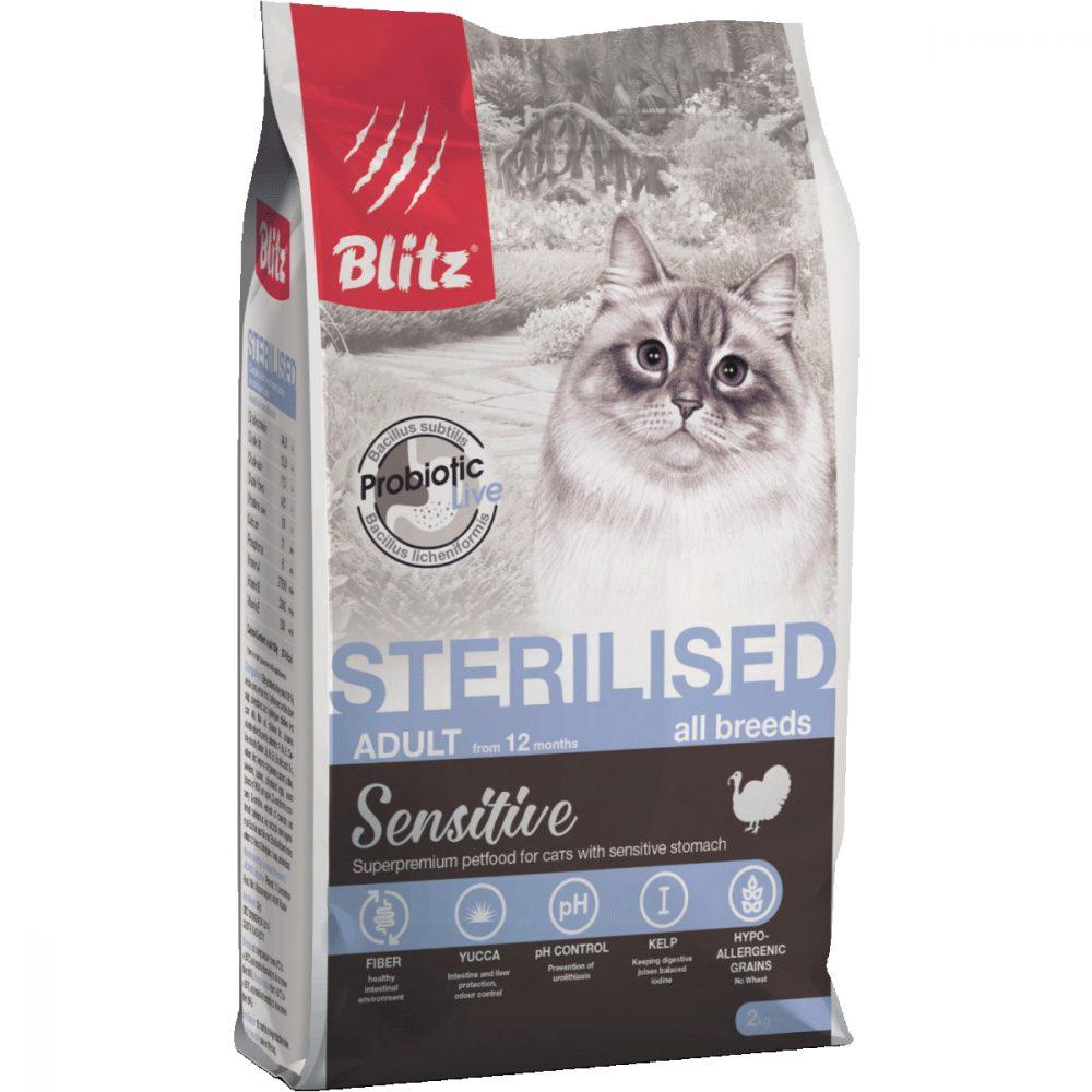 BLITZ Sterilised Cats Turkey, корм для стерилизованных кошек с индейкой, 400г