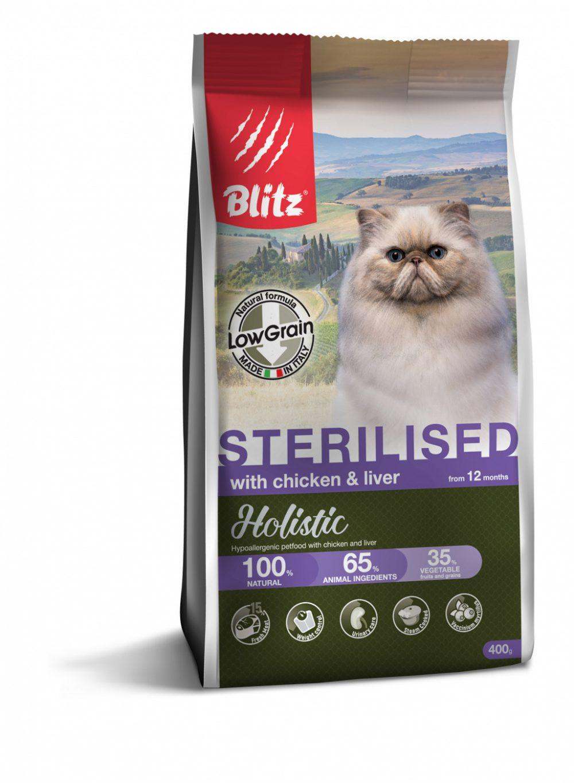 BLITZ Chicken&Liver for Sterilised. корм для стерилизованных кошек, курица и печень, 400г